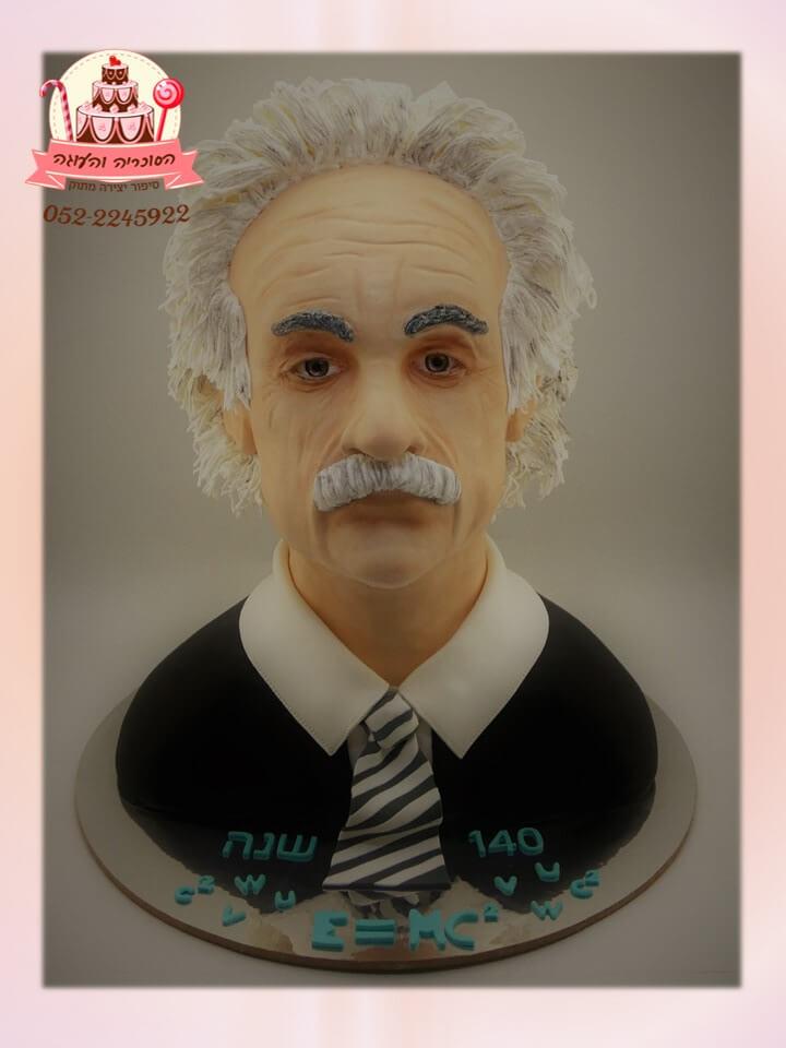 עוגות מיוחדות: עוגה מעוצבת בדמות אלברט איינשטיין albert einstein בבצק סוכר - דורית יחיאל