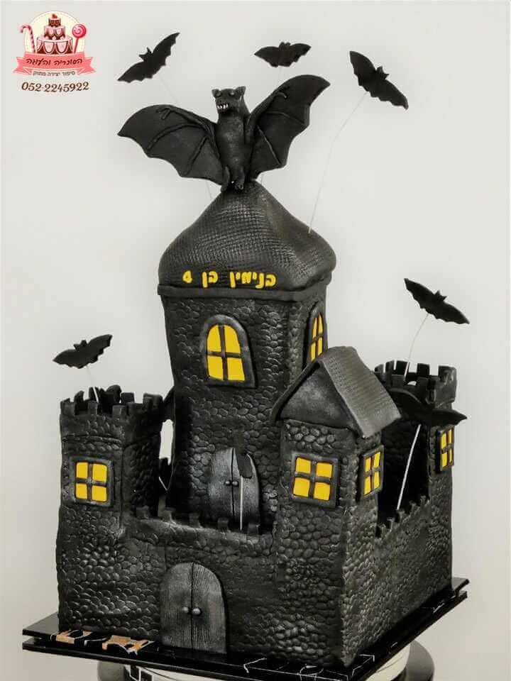 עוגה בצורת טירה ועטלפים | עוגות יום הולדת לבנים | דורית יחיאל הסוכריה והעוגה