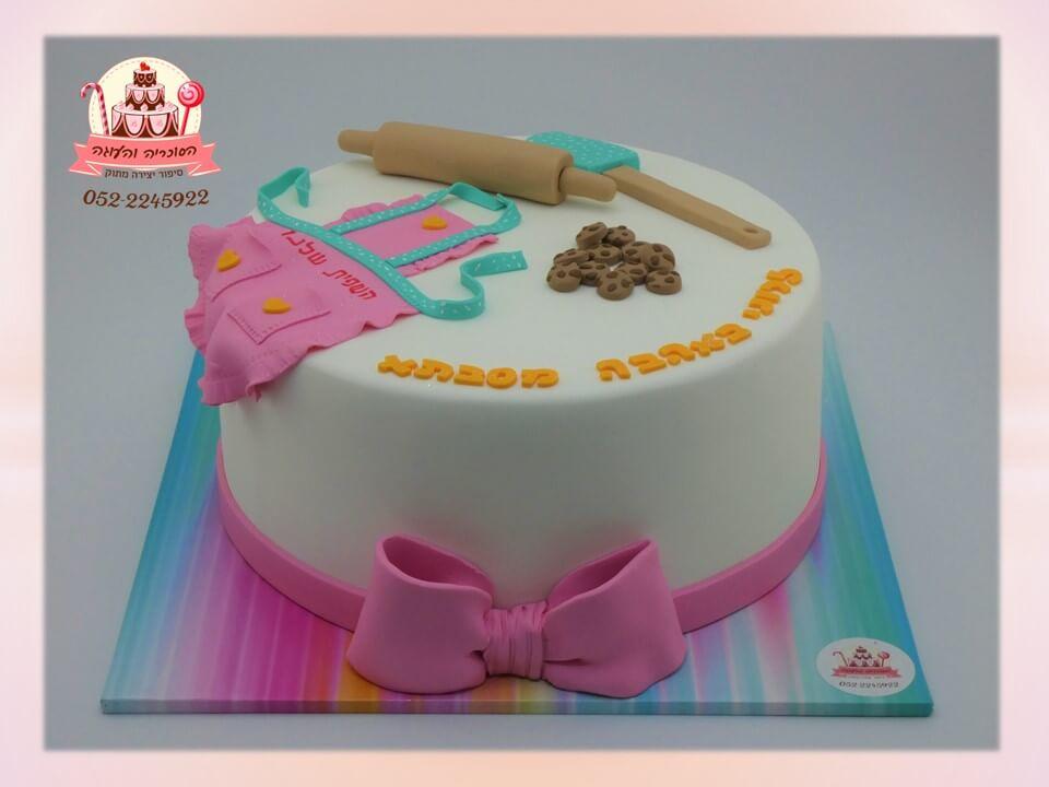 עוגה מעוצבת בצק סוכר לנערה חובבת אפייה - הסוכריה והעוגה