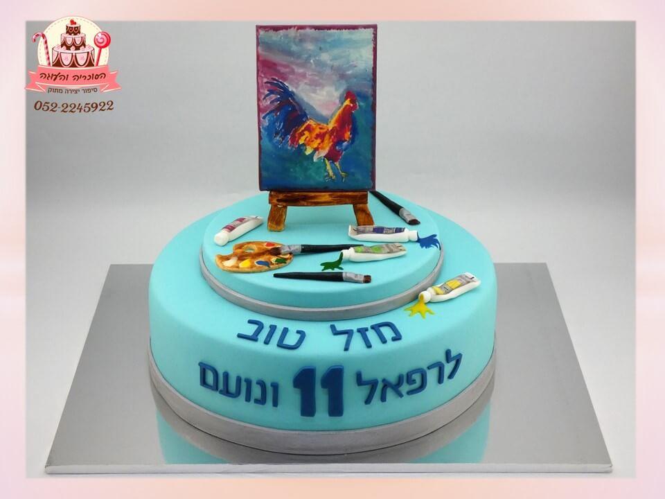 עוגה מעוצבת לתאומים שאוהבים לצייר