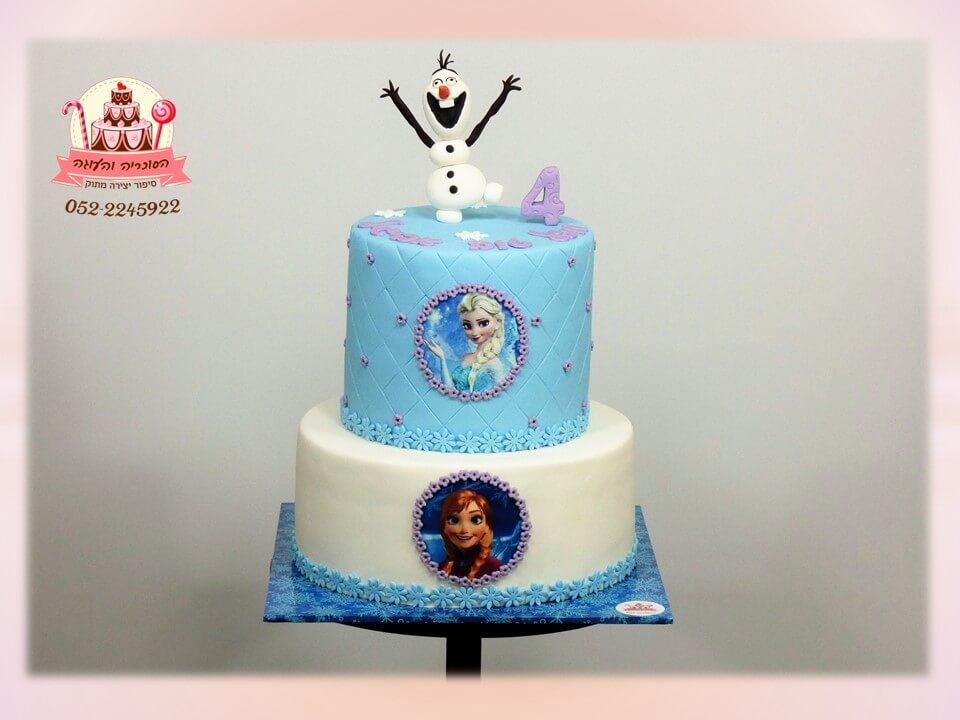 עוגת קומותיים, עוגת אנה ואלזה מבצק סוכר, אולף מבצק סוכר בקצה - דורית יחיאל