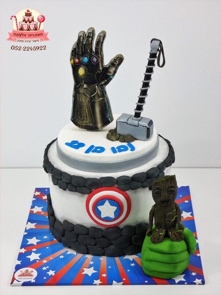 """עוגה מעוצבת אלמנטים """"הנוקמים"""""""