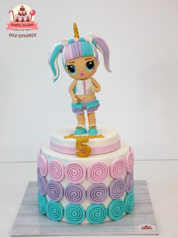 עוגה LOL, עוגה מעוצבת בצורת בובת לול מבצק סוכר - דורית יחיאל