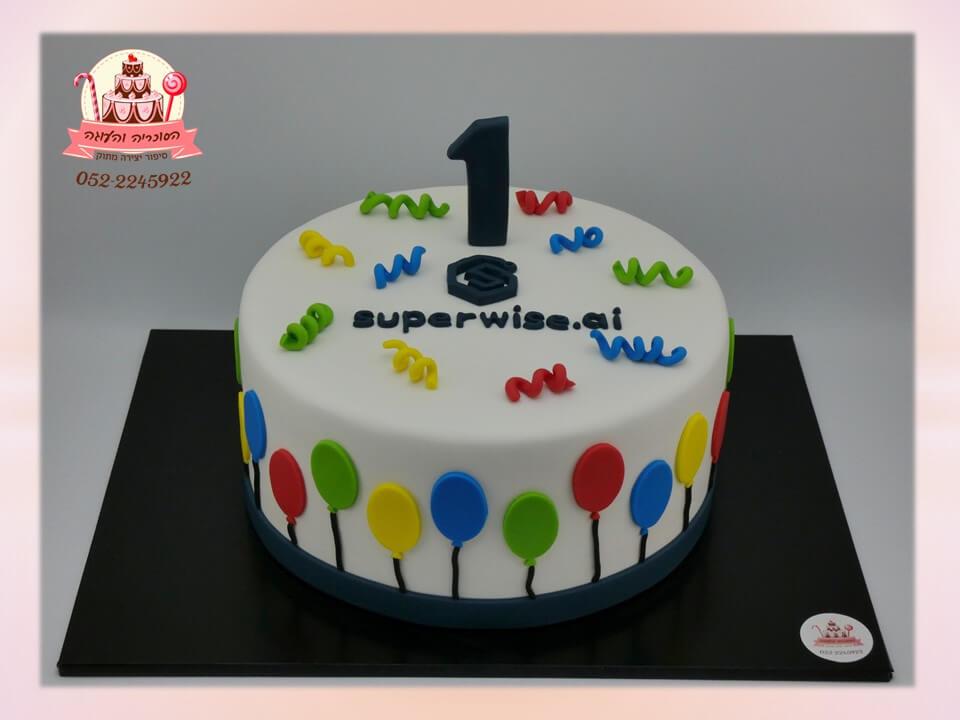 עוגה מעוצבת בצק סוכר, לחגיגות שנה לעסק חדש - הסוכריה והעוגה