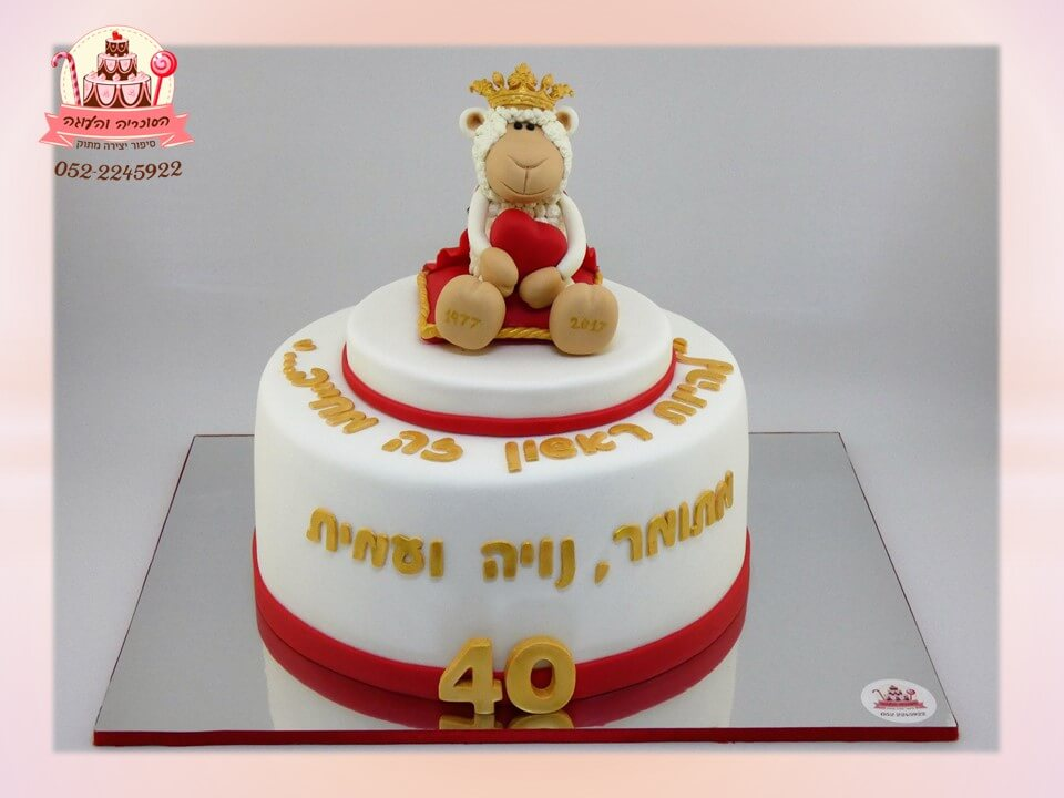 עוגה מעוצבת ליום הולדת 40 לאישה, הכבשה ניקי עם כתר מבצק סוכר - דורית יחיאל