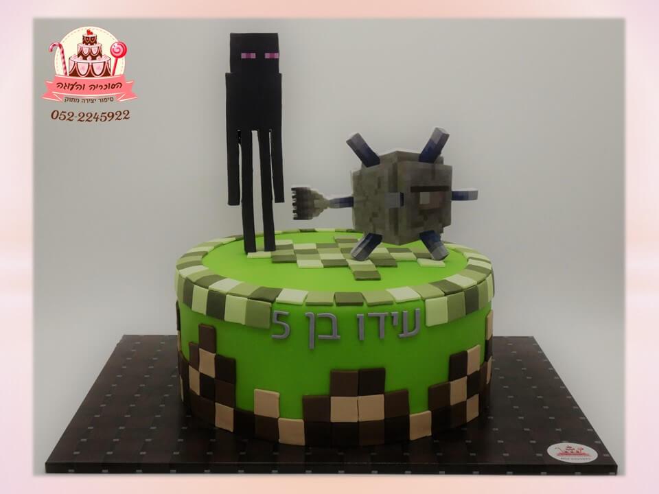 עוגת מיינקראפט, עוגה מעוצבת בצק סוכר בצורת מיינקראפט Minecraft - דורית יחיאל