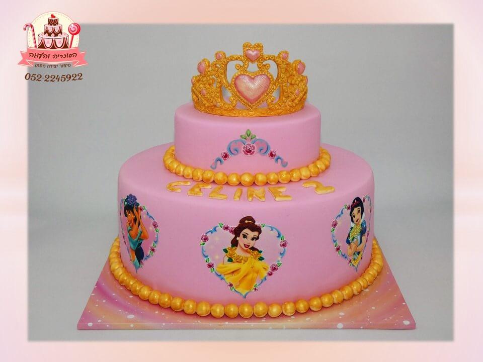 עוגה מעוצבת 2 קומות נסיכות וכתר