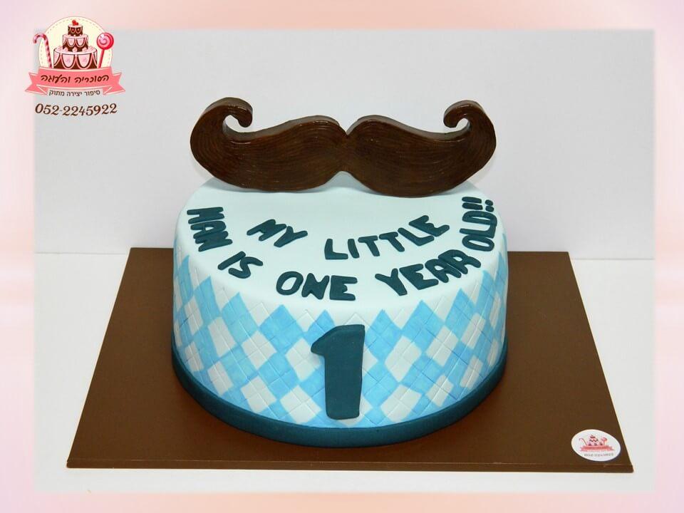 עוגה מעוצבת עם שפם לחגיגת גיל שנה