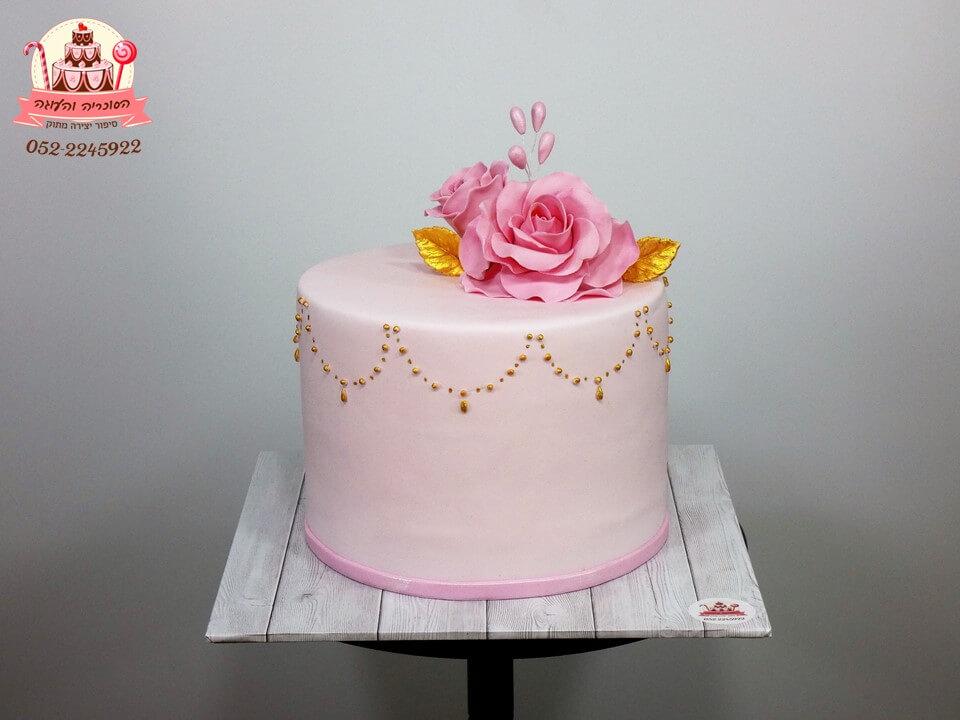 עוגה מעוצבת למבוגרים בעיצוב קלאסי עם ורדים - הסוכריה והעוגה, דורית יחיאל