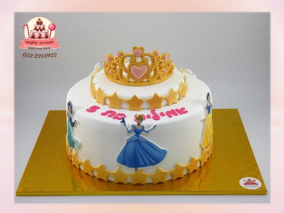 עוגה מעוצבת כתר זהבה ונסיכות