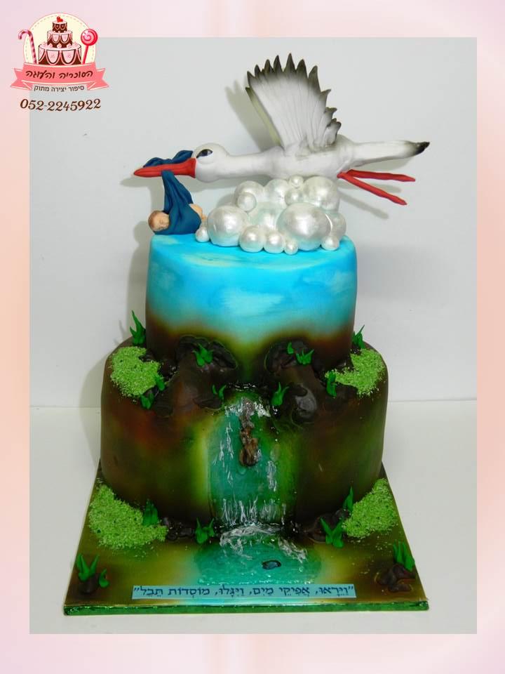 עוגות קומתיים לאירועים - עוגת קומות, בעיצוב בצק סוכר מיוחד של חסידה ותינוק - הסוכריה והעוגה