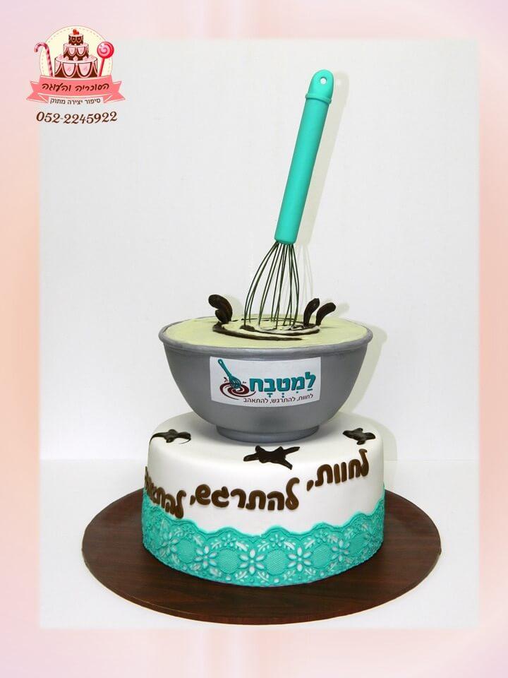 עוגה מעוצבת 2 קומות לפתיחת חנות למוצרי אפייה