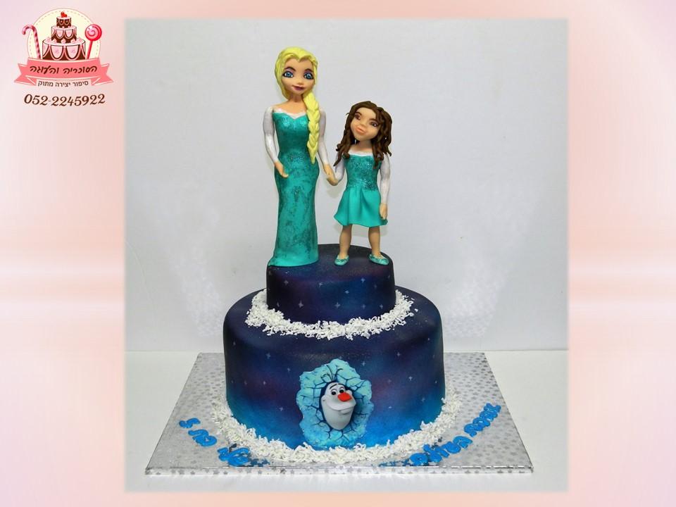 עוגת יום הולדת אלזה וילדת יום ההולדת