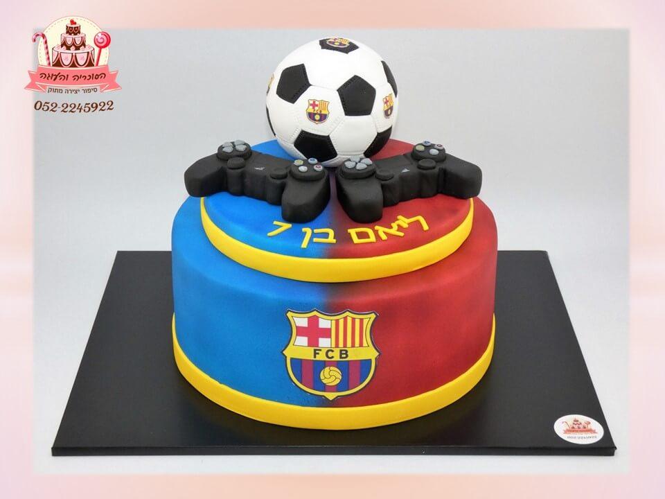 עוגת מעוצבת ברצלונה כדורגל ושלטי פלייסטשיין