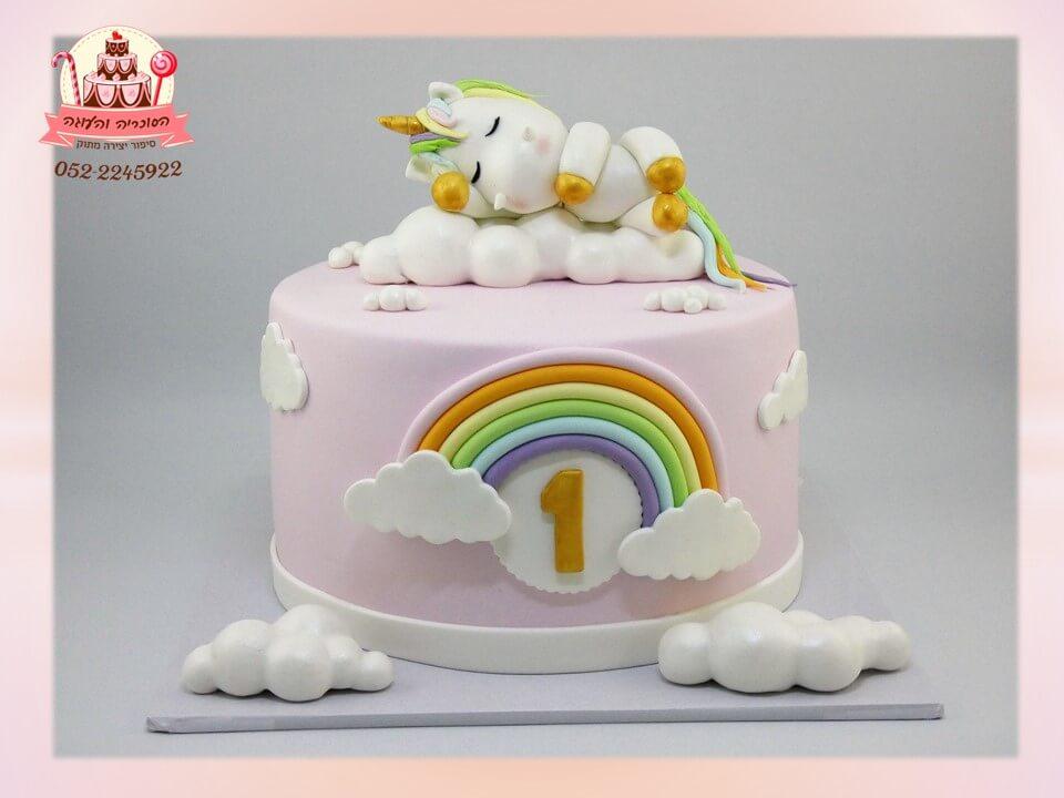 עוגת בייבי חד קרן לגיל שנה