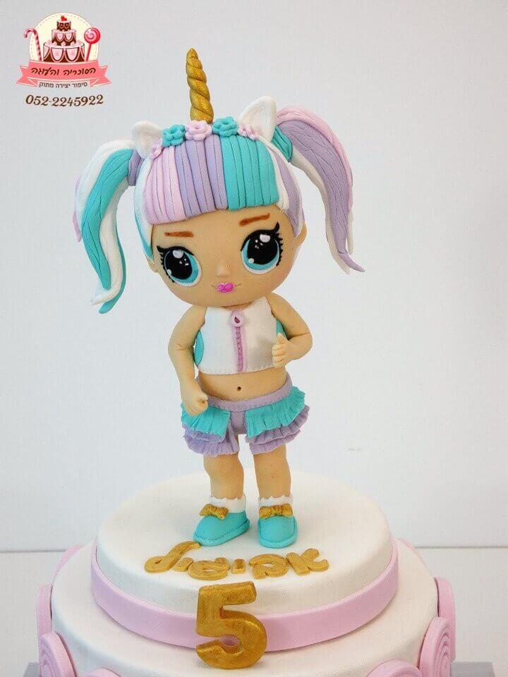 עוגה LOL מעוצבת מבצק סוכר, עוגה בצורת בובת לול מקרוב - דורית יחיאל