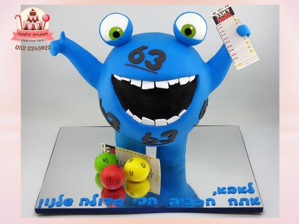 עוגת מפלצת לוטו מרהיבה בכחול, עוגות מעוצבות במיוחד למבוגרים - דורית יחיאל