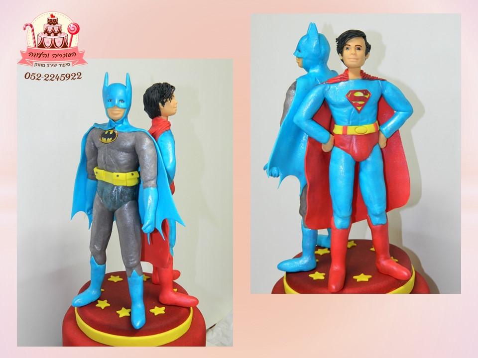 עוגת באטמן וסופרמן, עוגות יום הולדת לבנים, מעוצבות בצק סוכר | הסוכריה והעוגה - דורית יחיאל