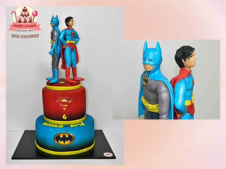 עוגת קומתיים באטמן וסופרמן, עוגות יום הולדת לבנים, מעוצבות בצק סוכר | הסוכריה והעוגה - דורית יחיאל