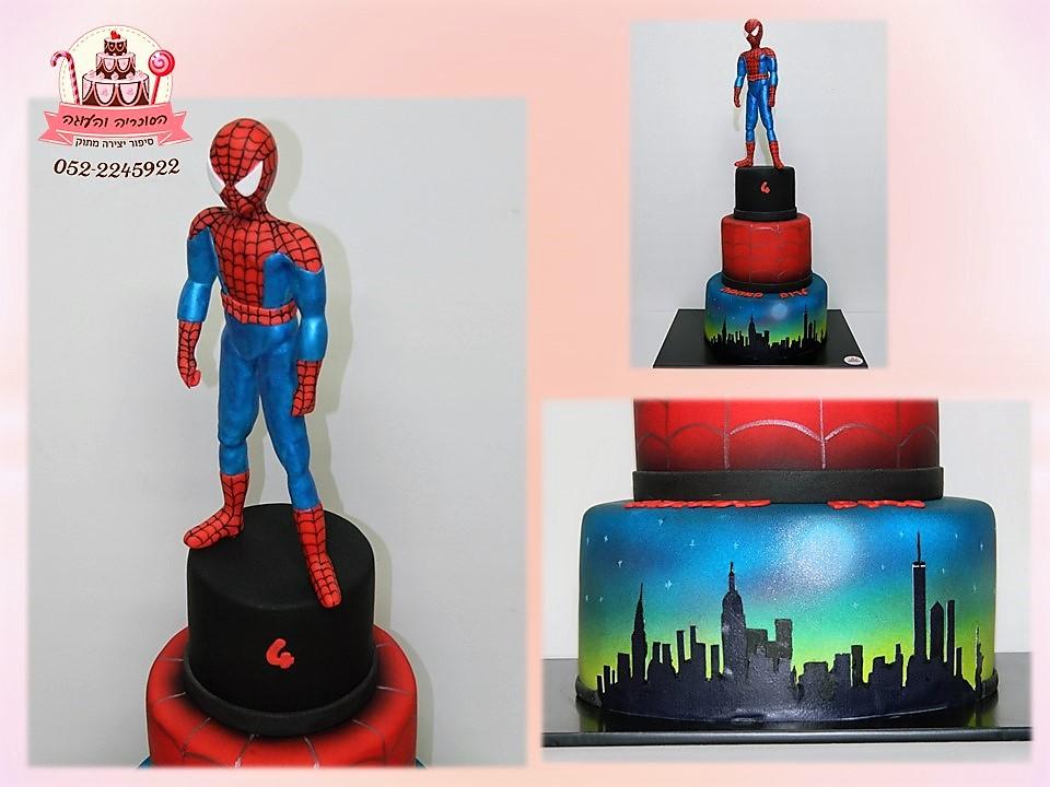 עוגת ספיידרמן מקרוב, עוגות יום הולדת לבנים, מעוצבות בצק סוכר | הסוכריה והעוגה - דורית יחיאל