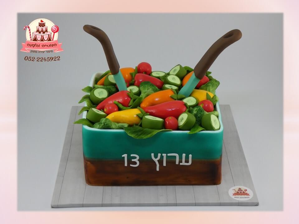 עוגת יום הולדת למבוגרים: עוגת קערת סלט מרובעת