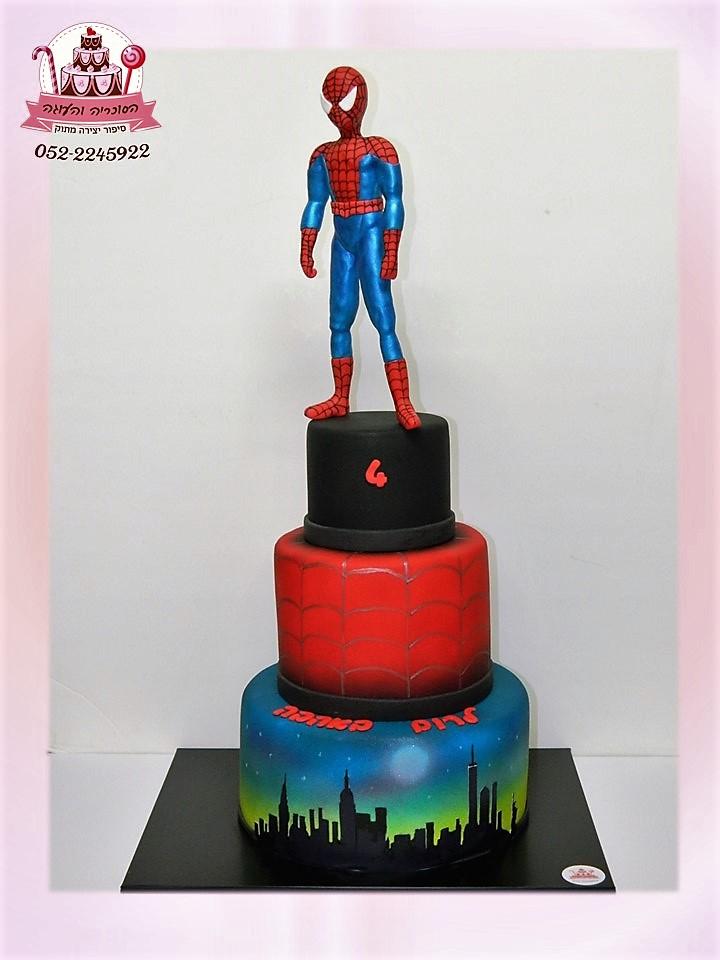 עוגת 3 קומות ספיידרמן, עוגות יום הולדת לבנים, מעוצבות בצק סוכר | הסוכריה והעוגה - דורית יחיאל