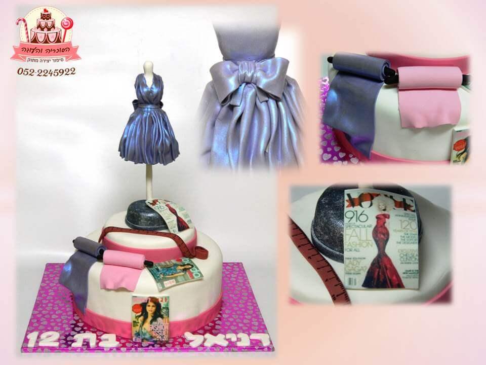 עוגה מעוצבת בת מצווה לחובבת עיצוב אופנה, עוגה יוקרתית - דורית יחיאל