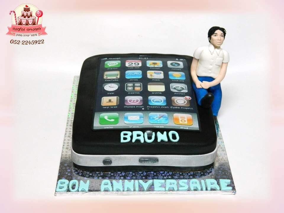 עוגה מעוצבת בצורת אייפון, עוגות יום הולדת למבוגרים | הסוכריה והעוגה - דורית יחיאל