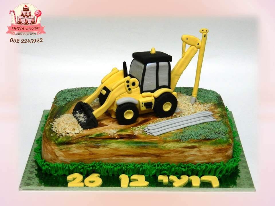 עוגת יום הולדת בעיצוב טרקטור, עוגות מעוצבות למבוגרים | הסוכריה והעוגה - דורית יחיאל
