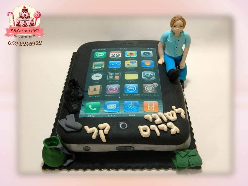 עוגת אייפון, עוגת יום הולדת למבוגרים, מעוצבות בצק סוכר | הסוכריה והעוגה - דורית יחיאל