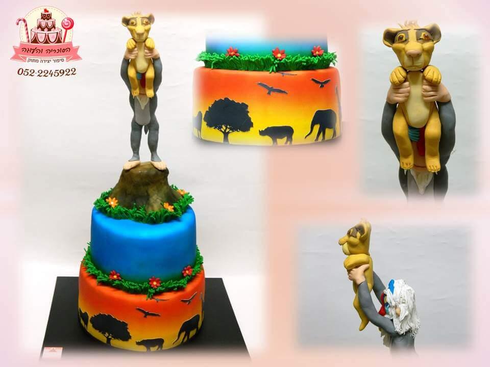 עוגה מעוצבת מלך האריות בצביעת איירבראש