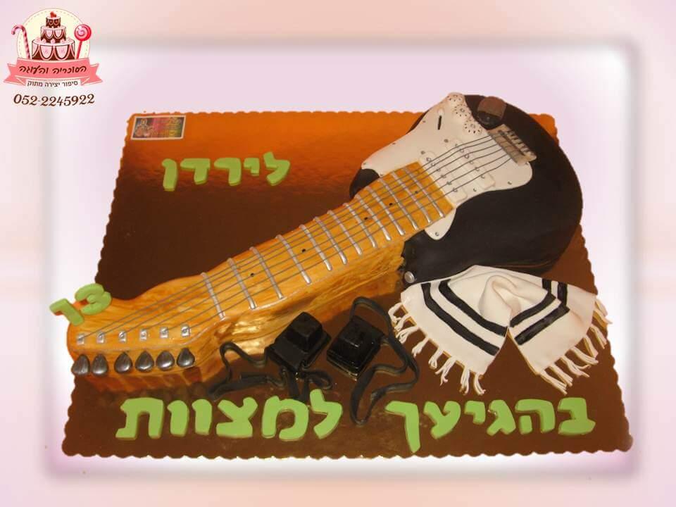 עוגה מעוצבת לבר מצווה בעיצוב גיטרה