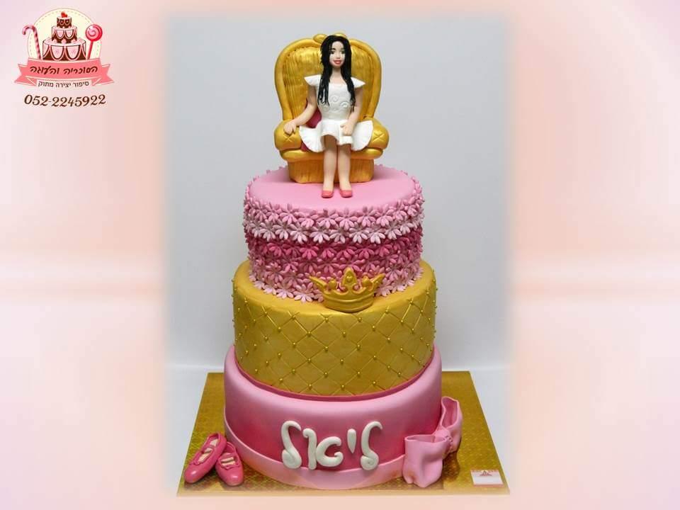 עוגת בת מצווה מעוצבת 3 קומות נסיכה - הסוכריה והעוגה