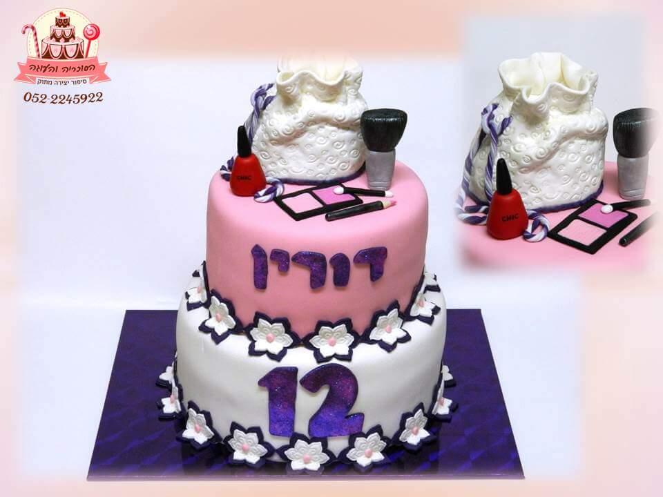 עוגה מעוצבת לבת מצווה כלפי איפור