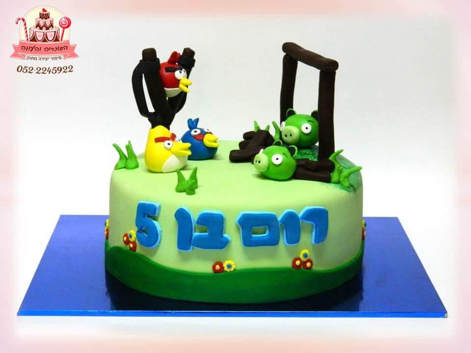 עוגה מעוצבת אנגרי ברדס, עוגות יום הולדת לבנים, מעוצבות בצק סוכר | הסוכריה והעוגה - דורית יחיאל