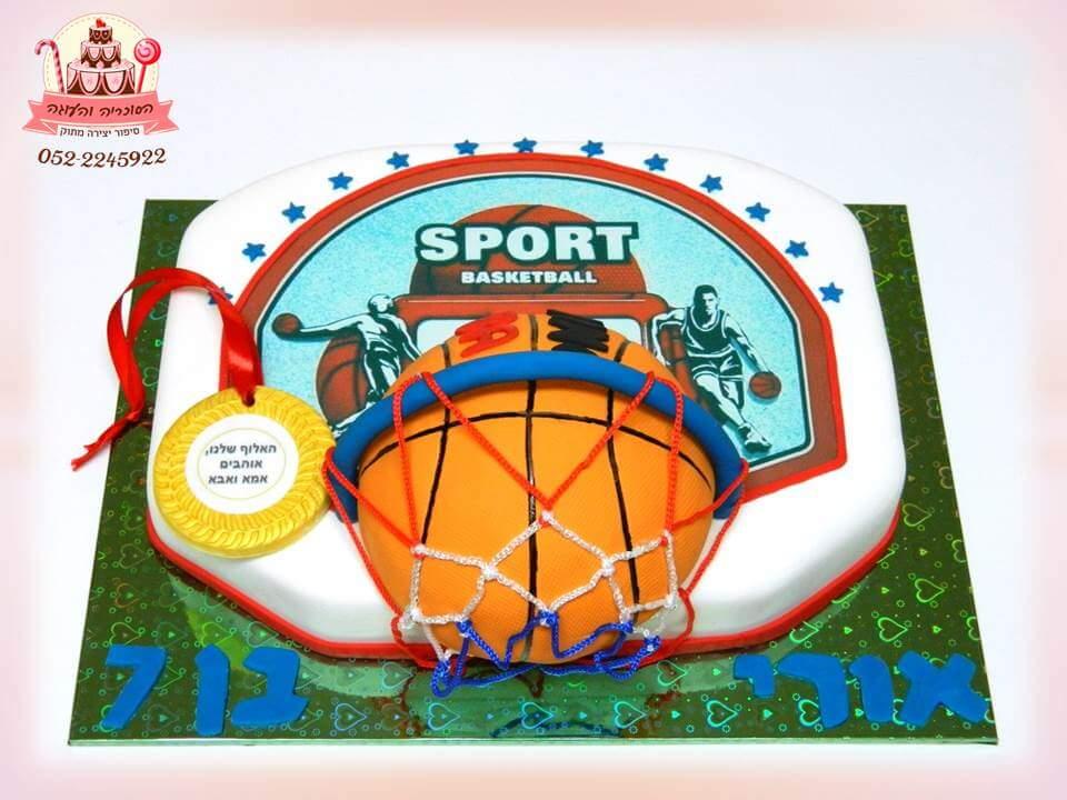 עוגת כדורסל, עוגות יום הולדת לבנים, מעוצבות בצק סוכר | הסוכריה והעוגה - דורית יחיאל