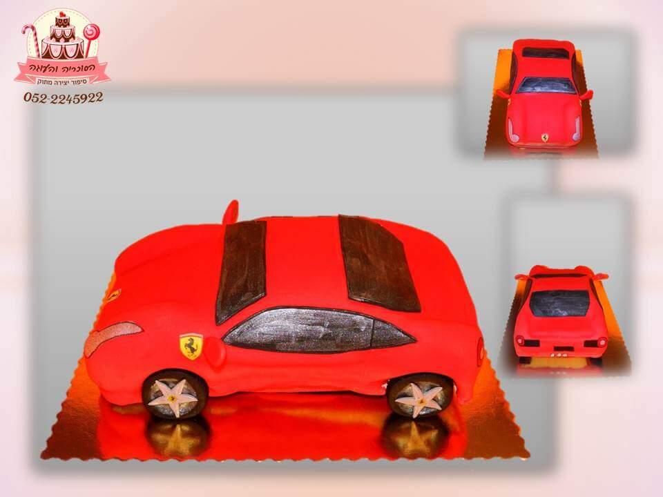 עוגת פרארי אדומה, עוגות יום הולדת לבנים, מעוצבות בצק סוכר | הסוכריה והעוגה - דורית יחיאל
