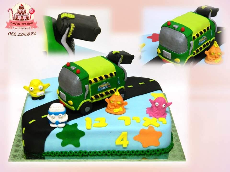 עוגת בעיצוב משאית, עוגות יום הולדת לבנים, מעוצבות בצק סוכר | הסוכריה והעוגה - דורית יחיאל