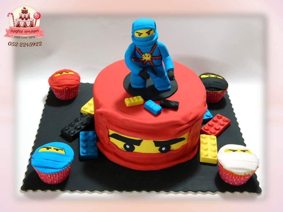 עוגת נינג'גו כחול, עוגות יום הולדת לבנים, מעוצבות בצק סוכר | הסוכריה והעוגה - דורית יחיאל