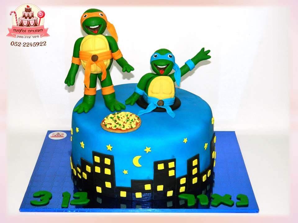 עוגה מעוצבת צבי הנינג'ה, עוגות יום הולדת לבנים, מעוצבות בצק סוכר | הסוכריה והעוגה - דורית יחיאל