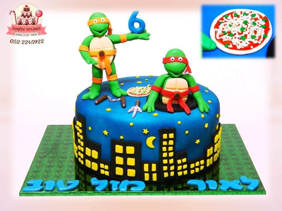 עוגת יום הולדת צבי הנינג'ה, עוגות יום הולדת לבנים, מעוצבות בצק סוכר | הסוכריה והעוגה - דורית יחיאל