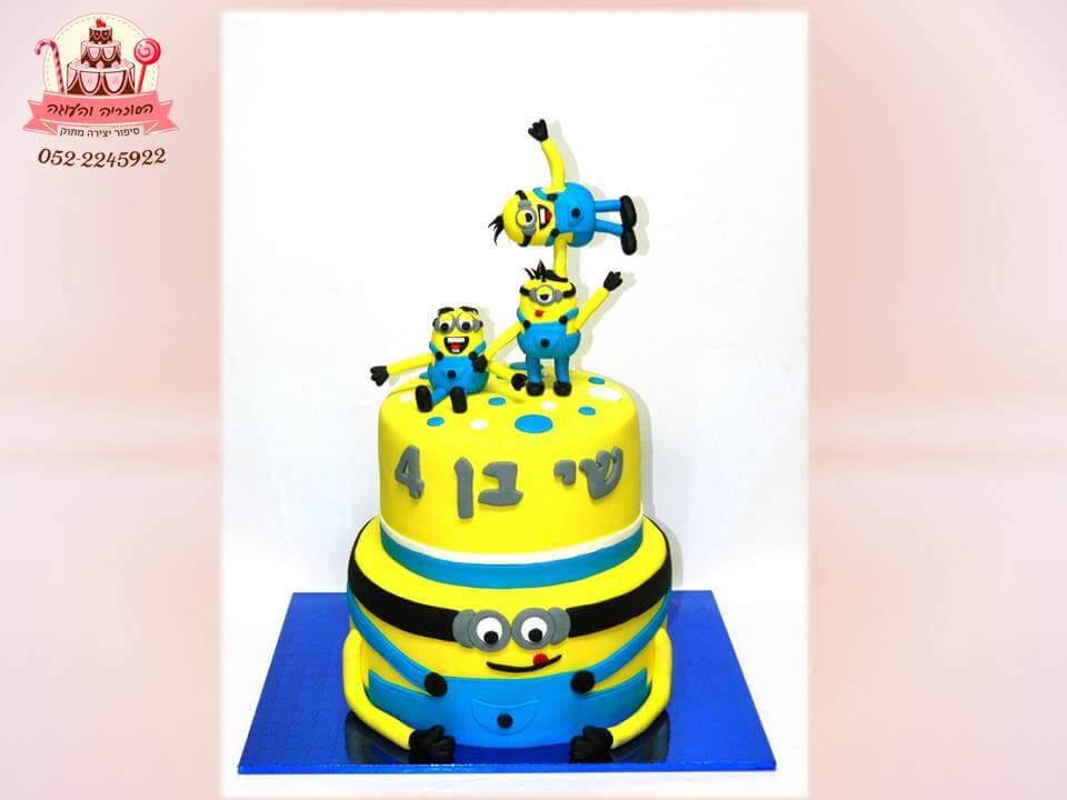 עוגת המיניונים, עוגות יום הולדת לבנים, מעוצבות בצק סוכר | הסוכריה והעוגה - דורית יחיאל