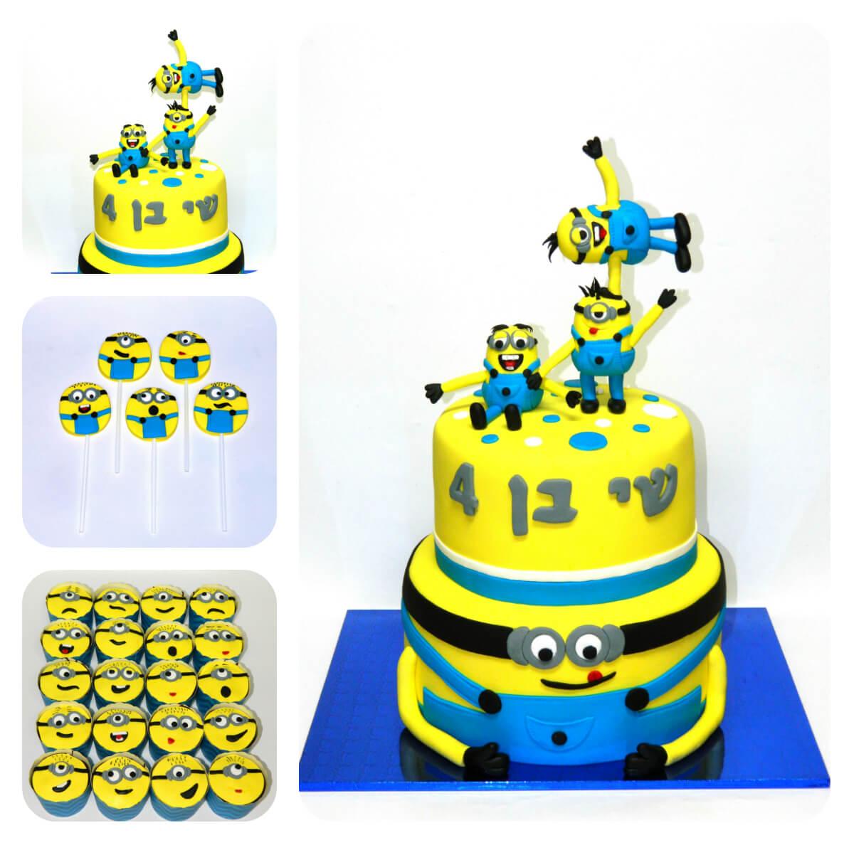 עוגה מעוצבת מיניונים, עוגות יום הולדת לבנים, מעוצבות בצק סוכר | הסוכריה והעוגה - דורית יחיאל