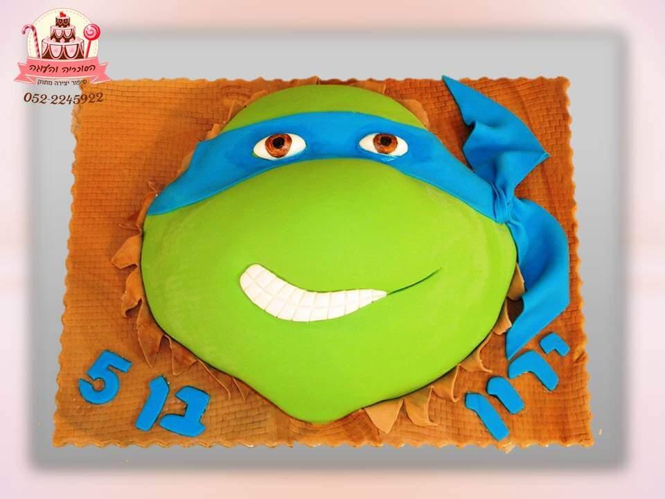 עוגת ראש צב נינג'ה, עוגות יום הולדת לבנים, מעוצבות בצק סוכר | הסוכריה והעוגה - דורית יחיאל