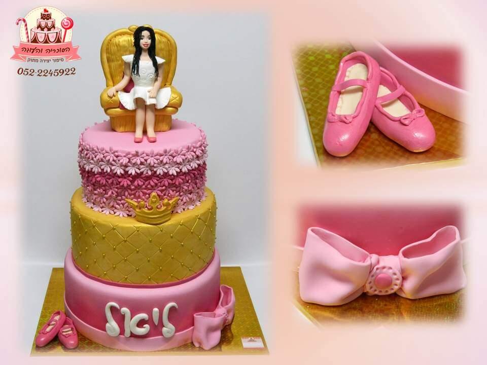 עוגת יום הולדת 3 קומות נסיכה
