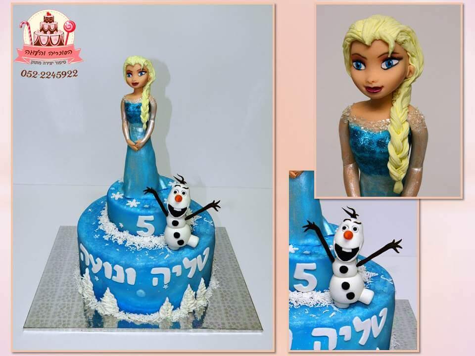 עוגה מעוצבת של אנה ואלזה - עוגות יום הולדת לבנות