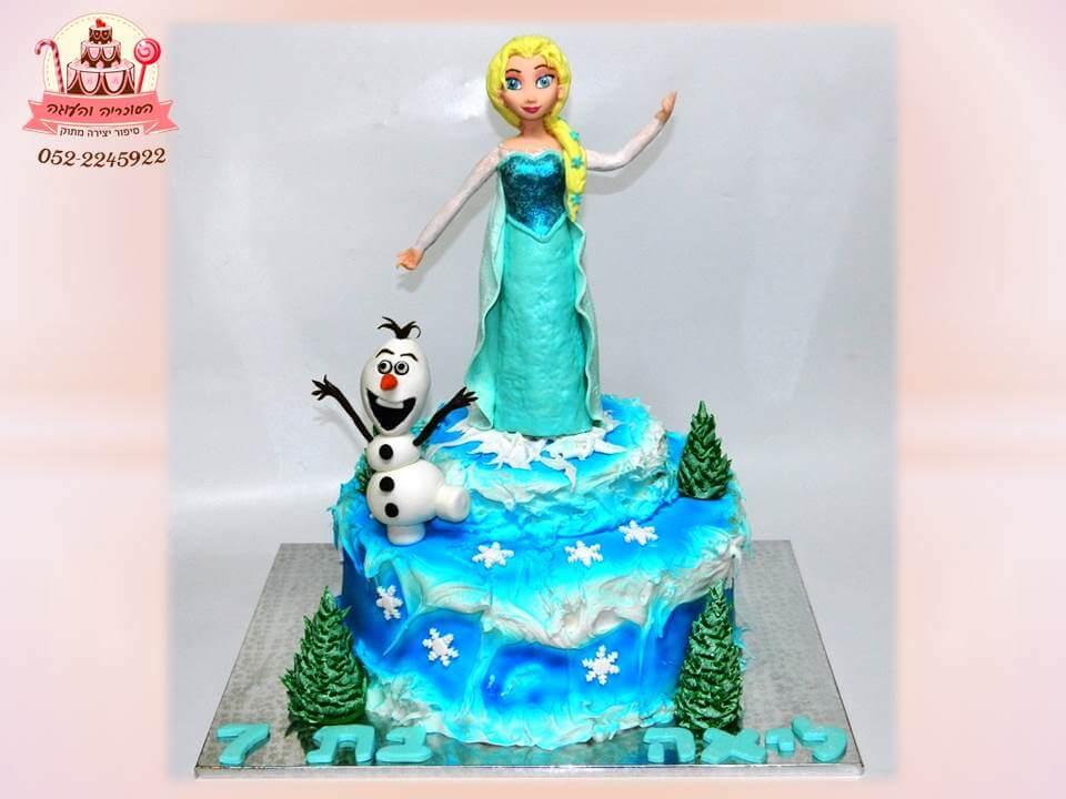 עוגה מעוצבת לשבור את הקרח - עוגה מעוצבת של אנה ואלזה - עוגות יום הולדת לבנות מבצק סוכר