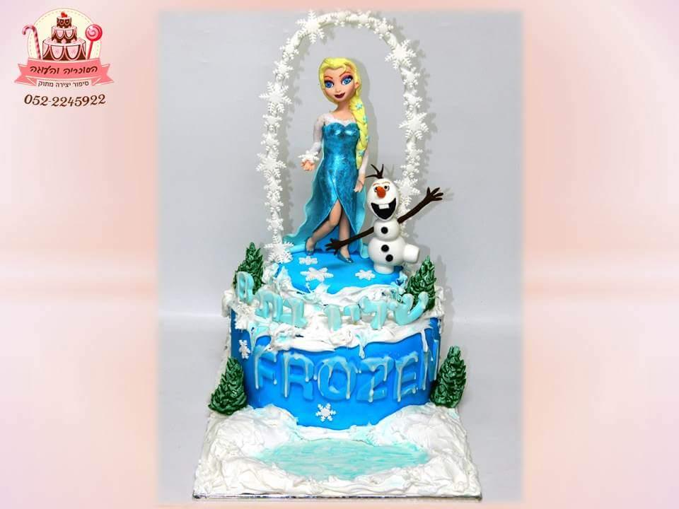 עוגת לפרוזן מבצק סוכר - עוגות יום הולדת לבנות