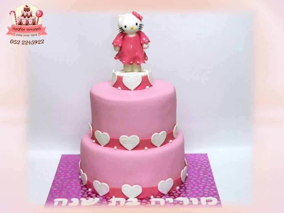 עוגת יום הולדת הלו קיטי שתי קומות