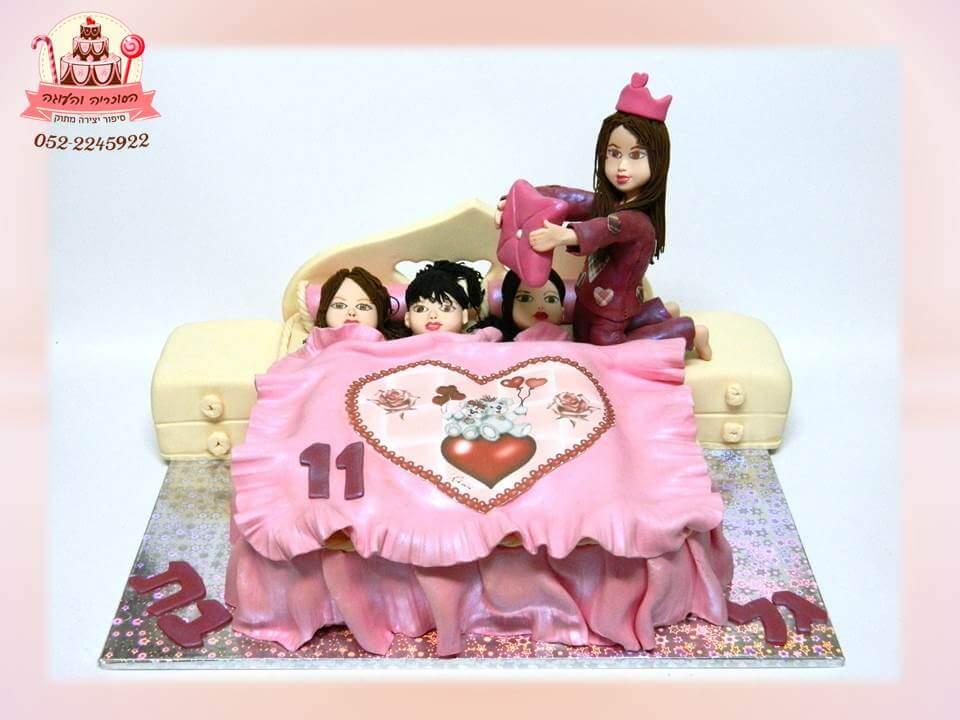 עוגת יום הולדת מסיבת פיג'מות